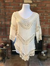Oatmeal Cream Boho Hippie CHIC Feminine Crochet Knit Hi Low Blouse Shirt Top Med