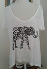 Tokyo Darling Aeropostale Womens Small Top White Elephant Lace Back Panel Jersey