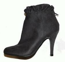 GREY SUEDETTE RUFFLE ANKLE BOOT 7 high heel bootie shoe NEW BUY3+ITEM= FREE POST