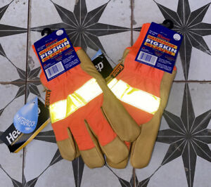 KINCO~PIGSKIN~WATERPROOF~THERMAL LINING~REFLECTIVE~GLOVES~LG~2 PAIRS~ORANGE