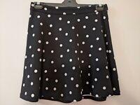 Sportsgirl Women's Skirt Size Small Black White Polka Dots Flare Zip-up Back