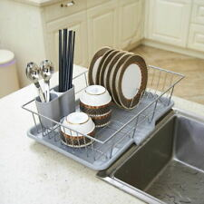 1-Tiers Kitchen Dish Drainer Shelf Cutlery Cup Plates Holder Sink Rack Drip Tray