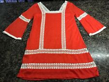 Women's Sz. M Judith March Orange & White Crocheted Lined Dress EUC!