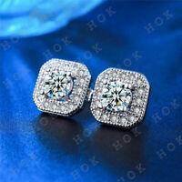 2 Ct Round Cut Diamond Halo Stud Earrings 14k White Gold Finish