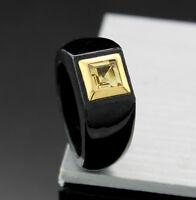 Ring schwarze Jade mit Citrin quadratisch 14kt/585-Gelbgold Wert 650 € (38400)