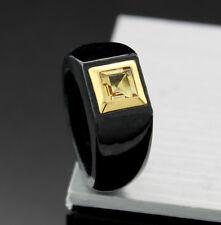 Jadering in Schwarz mit Citrin-Carré 585-Gelbgold Wert 650 Euro, Neu (38400)