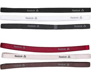 3 Pack REEBOK Headband NEW Sports Band Black White Hairband Hair