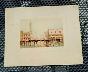 Jacques Rio etching, Ducal Palace & St. Mark's, Venice