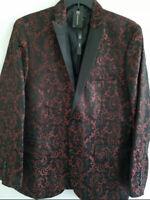 INC International Concepts Mens Small Red Slim Fit Jacquard Blazer