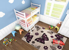 Butterfly Rugs In Cream Lilac & Beige Modern Kids Childrens Wilton Rug 160x230cm