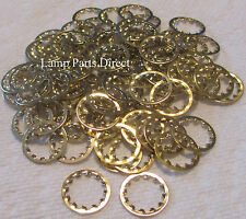 (Lot of 100) 1/8 IP Steel Internal Tooth Lock Washers - Brass Plated