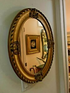 French Antique Ornate Gold Gilt Oval Sculptured Wood Mirror