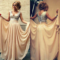 Champagne Long Prom Dress Chiffon Evening Gown Size 2 4 6 8 10 12 14 16 in Stock