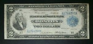 1918 $2 Federal Reserve Bank of Boston National Currency Note