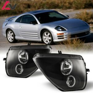 For 00-05 Mitsubishi Eclipse Dual Projector LED Halo Headlights - Black/Clear