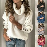 Women Winter Long Sleeve High Collar Pullover Sweater Knitted Jumper Tops Blouse