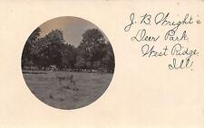 West Ridge Illinois~JB Wright's Deer Park Farm~Buck in Oval~1908 Real Photo~RPPC