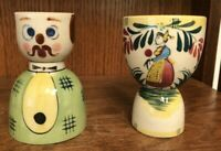 """Lot of 2 Vintage Porcelain Mustache Man and Dutch Lady Egg Cups 3-7/8"""" tall"""