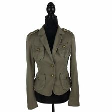 The Limited Military Style Jacket Beige Brown Pockets Gold Buttons Women's XS