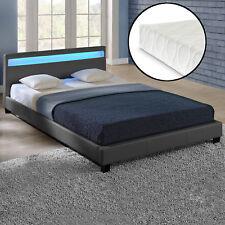 corium LED Cama tapizada Colchón 180x200cm gris oscuro piel sintética Cama Doble