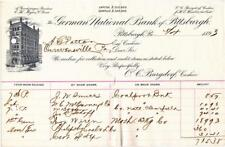 1893 Bank Document The German National Bank of  Pittsburgh, Pennsylvania