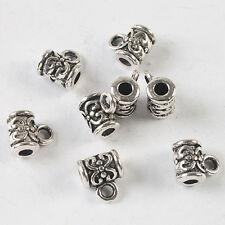 25pcs dark silver tone bail flower pendant charm h3909