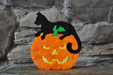 Adorable Black Halloween Cat on Jack O Lantern  Hand Cut Wood Toy Puzzle NEW USA
