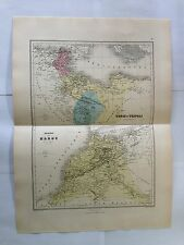 GRAVURE TUNIS TRIPOLI MAROC 1889 MIGEON CARTE MAP OLD LIBYE TUNISIE AFRIQUE