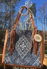 NWT The Sak Montara Leather Tote Bag  Handbag Blue Diamond  Style 107278