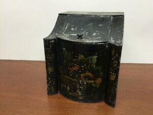 Early ANTIQUE TINWARE TOLEWARE TIN Curved Scalloped TEA Biscuit CANISTER