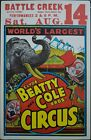 c. 1950 Clyde Beatty Cole Bros World's Largest Kellogg Airport Circus Poster