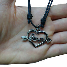 Valentines Day Love Heart Silver Tone Pendant Chain Necklace Womens Ladies Girls