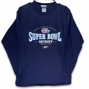 Detroit Lions 40th Anniversary Super Bowl Feb 5 Reebok Mens Sweatshirt Blue M