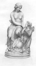 NAKED NUDE GIRL WOMAN GODDESS VENUS & CUPID ~ 1861 Mythology Art Print Engraving