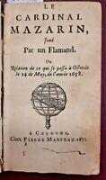1658 - LE CARDINAL MAZARIN, JOUE' PAR UN FLAMAND - Seicentina