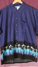 Camisa Hawaiana Palmera en la noche vintage nuevo hecho a mano con bolsillo superior XL