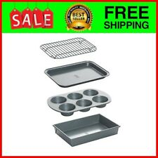 8044 Non-Stick Toaster Oven Bakeware Set, 4-Piece, Carbon Steel Pans Kitchen