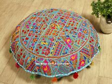 "Indian Handmade Embroidered 32"" inch Patchwork Round Floor Cushion Cover Cotton"