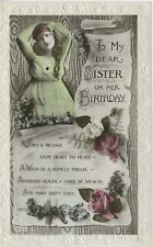 Birthday Wishes To My Sister Young Woman Roses Horseshoes Vintage RPPC Postcard