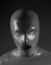 464 Latex Rubber Gummi Mask Hood Flyeye customized catsuit unique clubwear 0.4mm