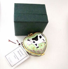 KELVIN CHEN Enamel Hinged Box Heart Shape Cow in Field of Flowers EH502