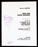 🌓 MAURICE LEMAÎTRE Note sur votre bonheur Lettrisme 1971 envoi autographe signé