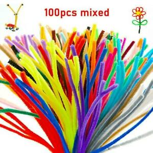 100pcs Pipe Chenille Sticks Cleaners Stems Assorted Craft B3V4