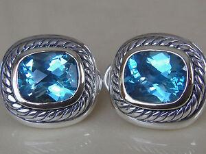 $1550 DAVID YURMAN 14K GOLD ,SS LARGE ALBION BLUE TOPAZ EARRINGS