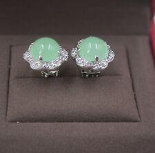 18K GP Alloy &Light Green Jade Stud Earrings Drop Women's Zircon Flower Fashion