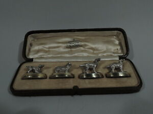 George V Place Card Holders - Antique Menu Dog Dogs - English Sterling Silver