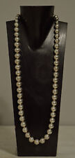 Necklace Long Bright Silver Bead Elegant Beaded Necklace
