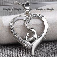 Mother & Child Heart Necklace Silver - Gifts For Her Women Wife Mum Son Daughter