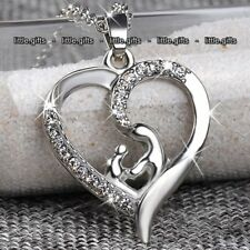 SALE Gifts For Her Mother Daughter Silver Heart Necklace Women Wife Mum Son Girl