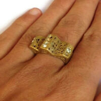 EXTREMELY RARE ANCIENT ROMAN RING BRONZE OLD ANTIQUE ARTIFACT WITH STONES